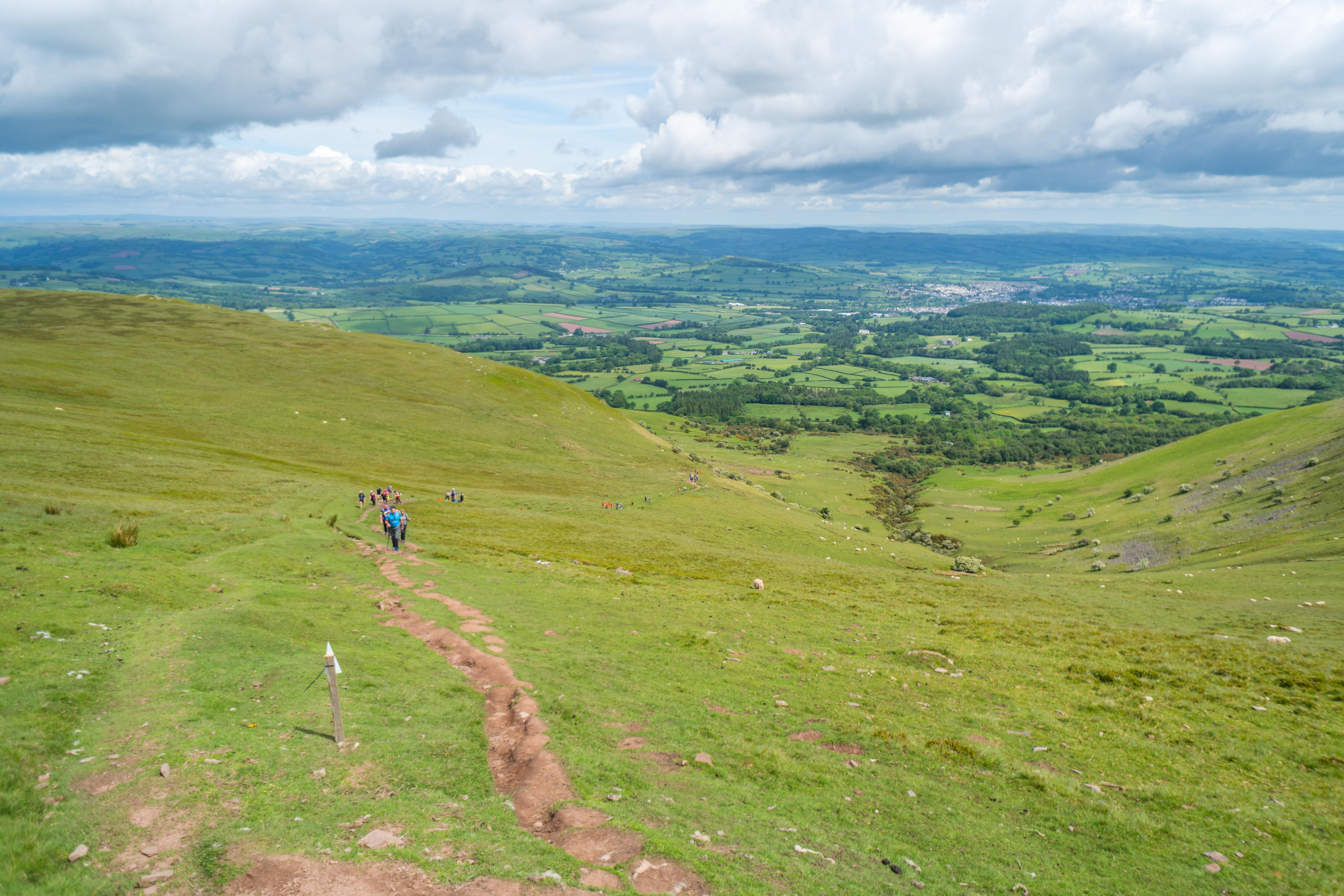 Participants walking over Brecon Beacons